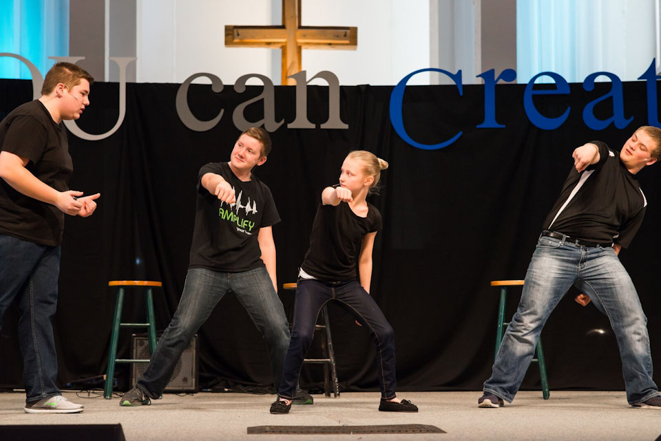 Youth on stage at Dexter UMC