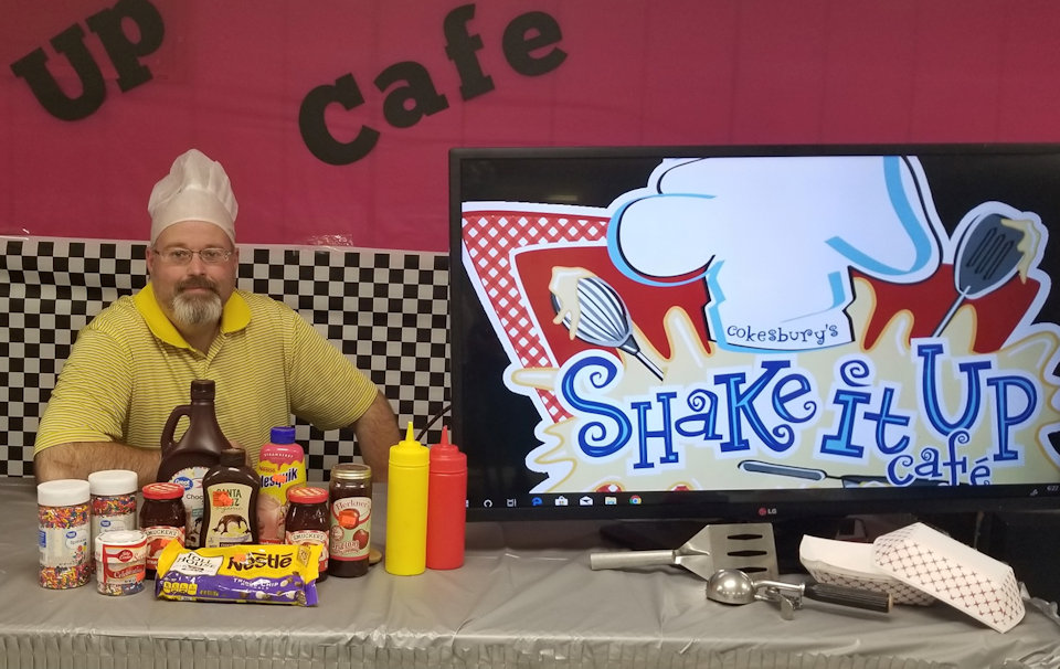 Pastor at VBS refreshment stand