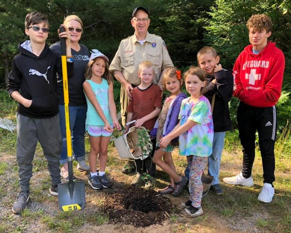 planting tree at camp