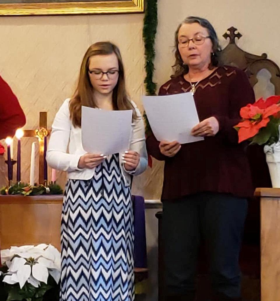 Two choir members at Melvin