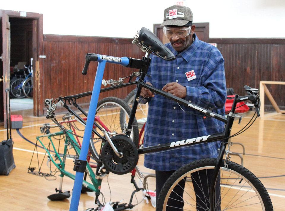 Man working on bike