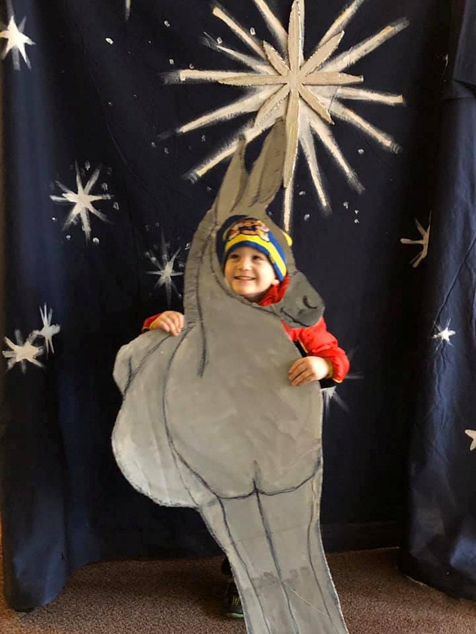 Boy with donkey cutout