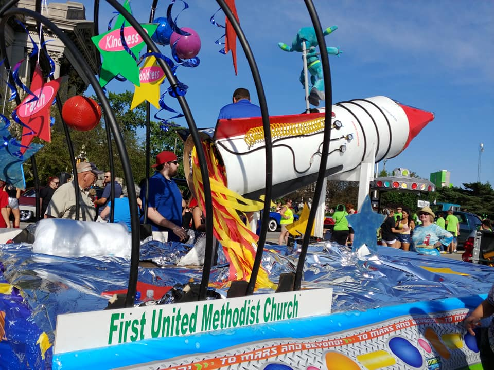 Rocket on float in Rotary Parade in Port Huron