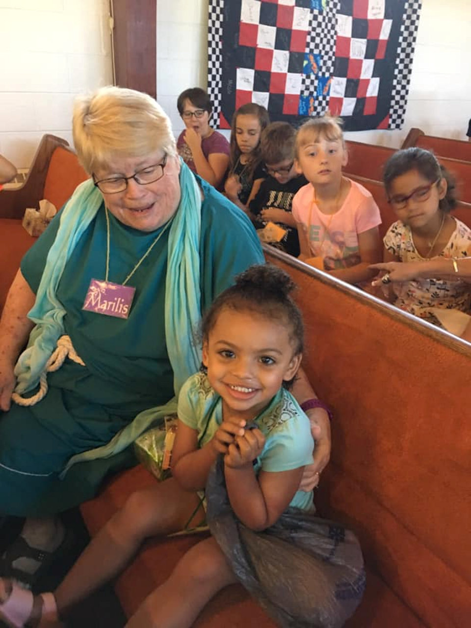 Pastor Mona Dye with VBS kids