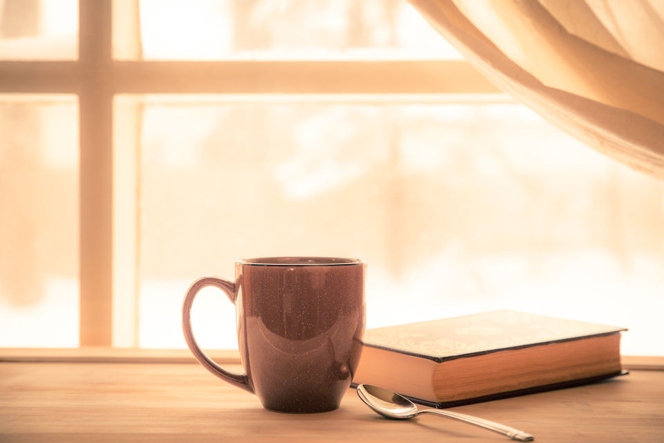 Coffee mug and Bible. Quiet life.