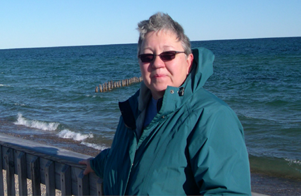 Deb Johnson, an MEF recipient, at the lakeshore