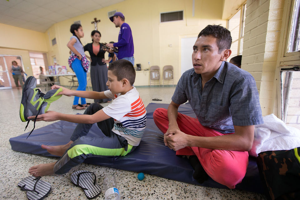 immigrant man and son seek sanctuary in Catholic Church in McAllen TX