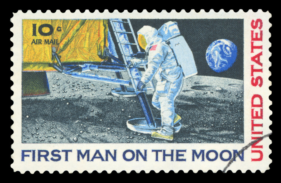 Postage stamp of the moon landing. Communion with the Creator.