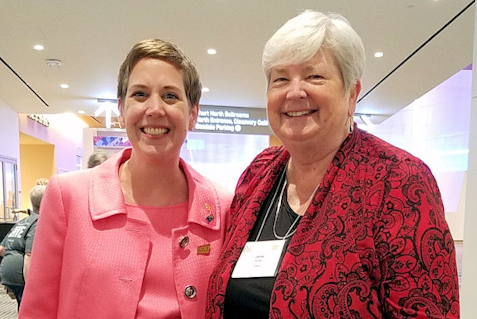 Two leaders in United Methodist Women, Shannon Priddy (left) and Jackie Euper