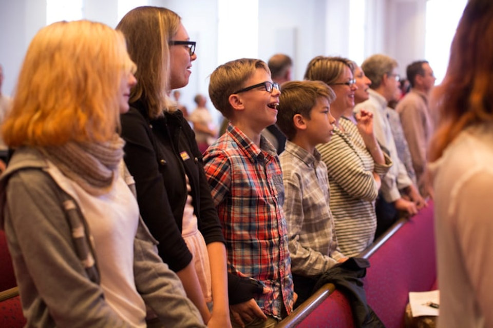 A congregation worshipping in the US