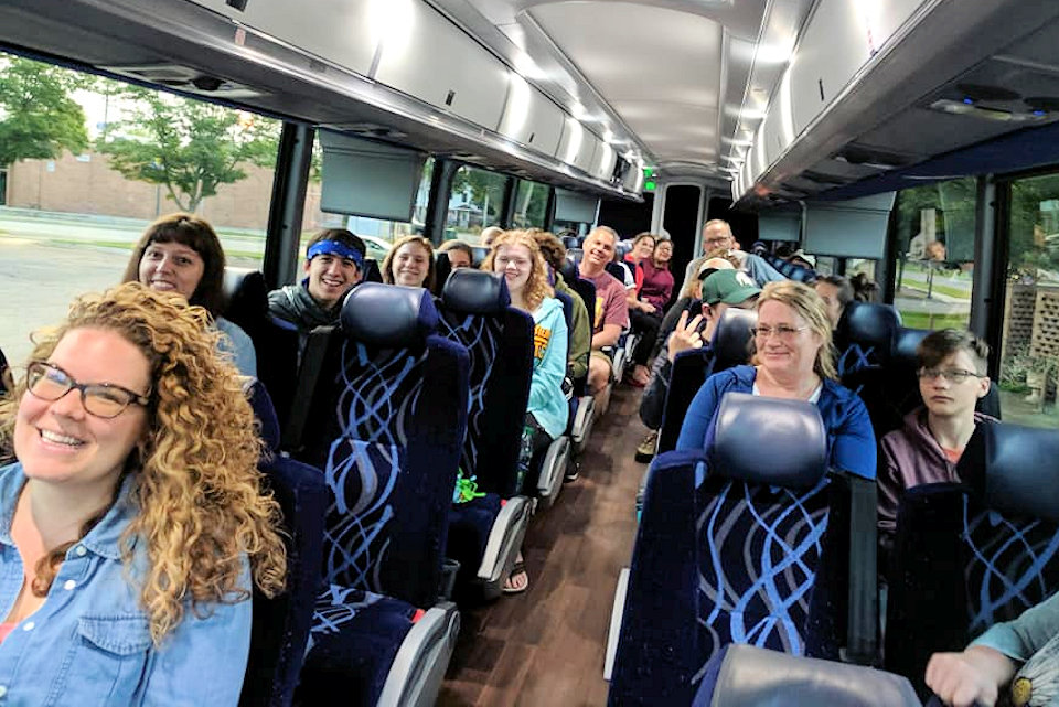 Youth and leaders in bus to Youth 2019