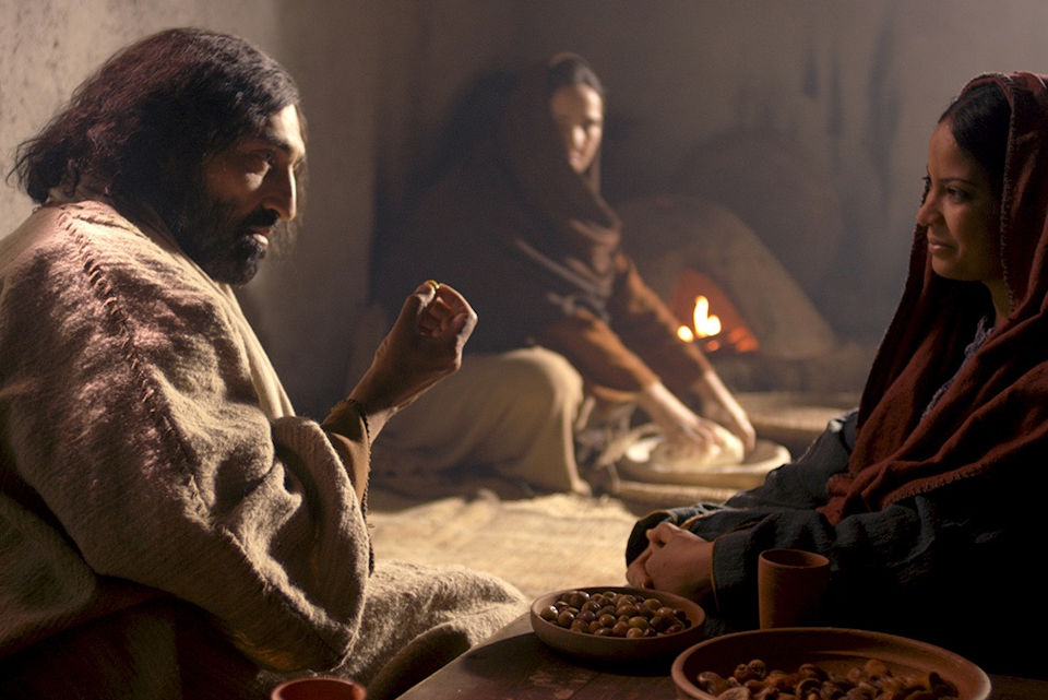 Jesus speaks with tow women, Mary and her sister Martha