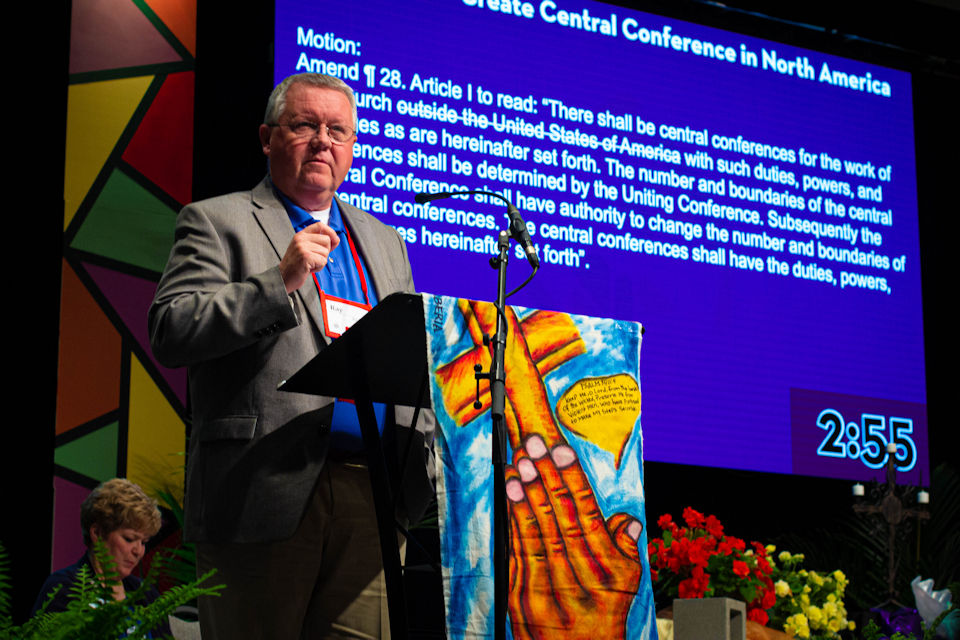 Ray McGee speaks to a Central Conference, regional approach at the 2019 Annual Conference.