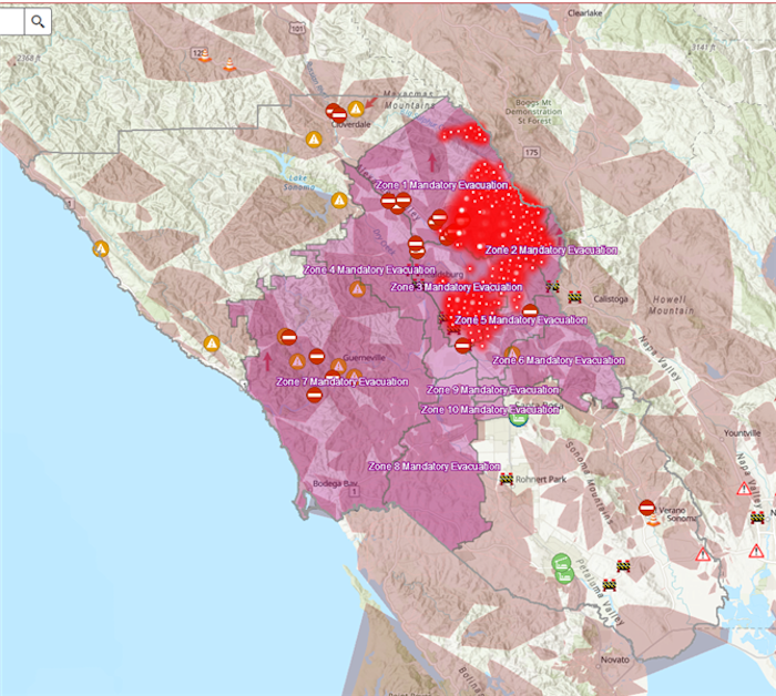 Fire zone shown on map