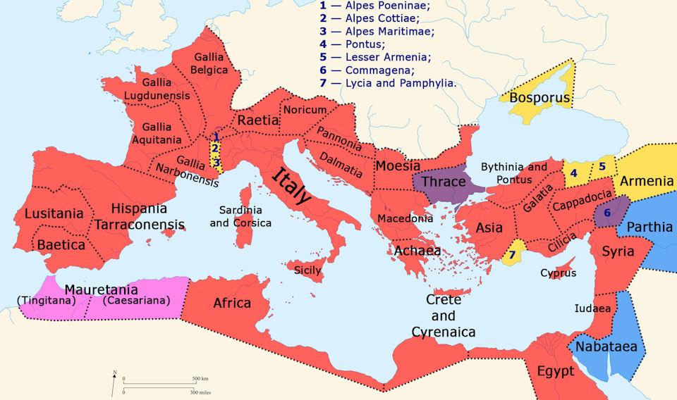 Roman Empire map 30 CE