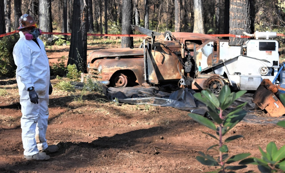 Surveying damage done by wildfire.