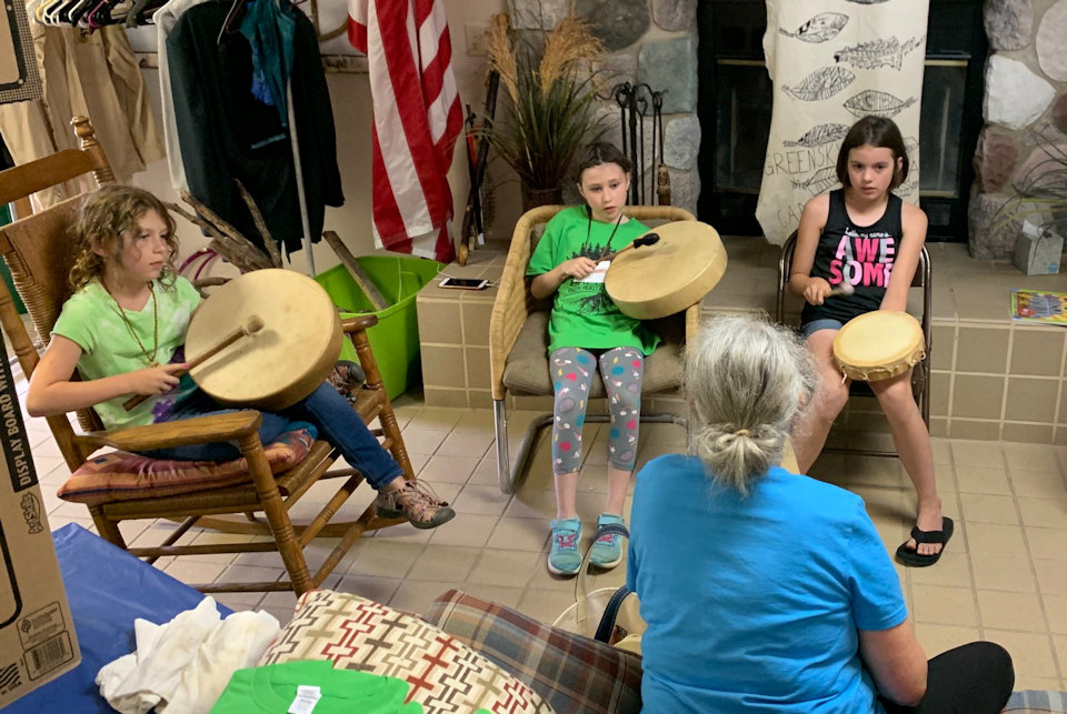 Heritage Camp practices drumming