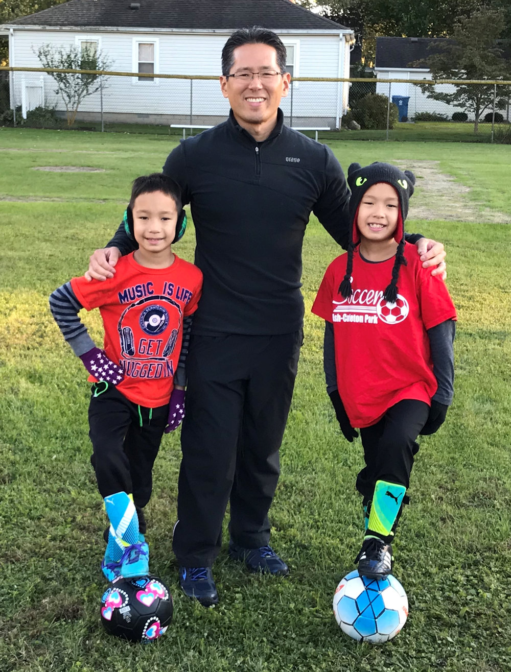 Pastor Kim with his children on the move