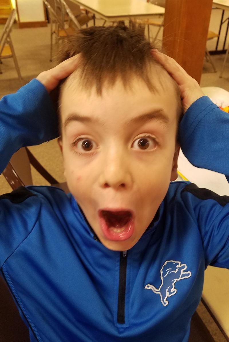 Boy shows enthusiasm