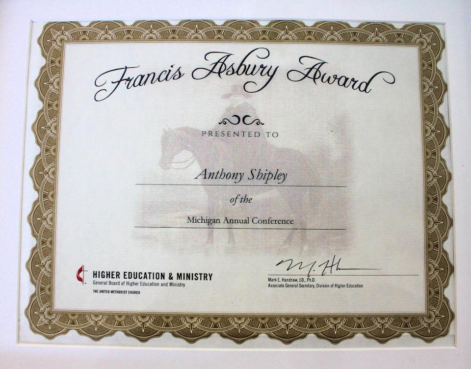 Tony Shipley award certificate