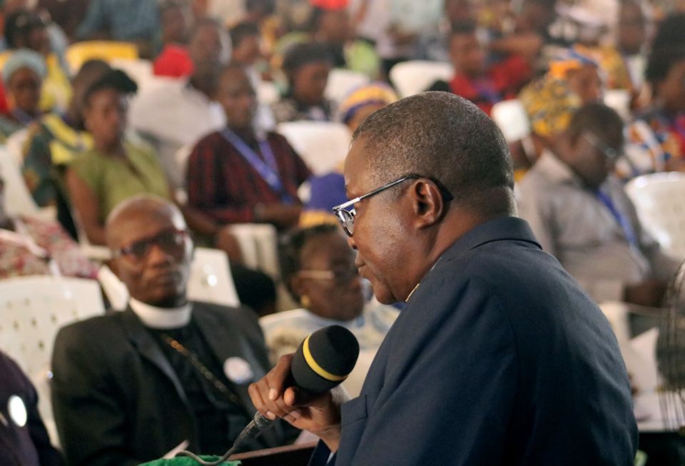 Bishop Samuel Quire leads discussion over changes to Protocol