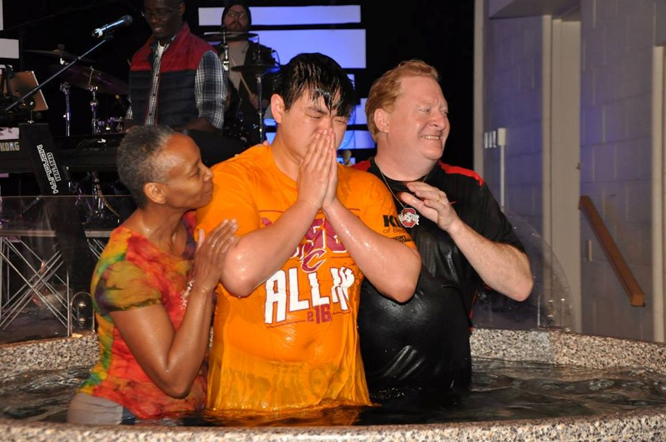 multi-ethnic church holds baptism in Ohio