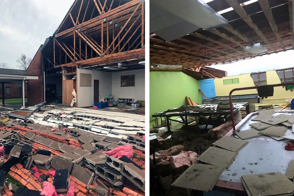 Hurricane Laura damage to University UMC in Lake Charles