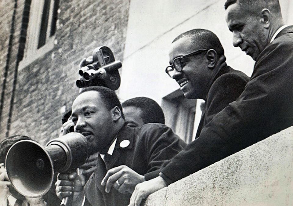 Civil Rights leaders on balcony