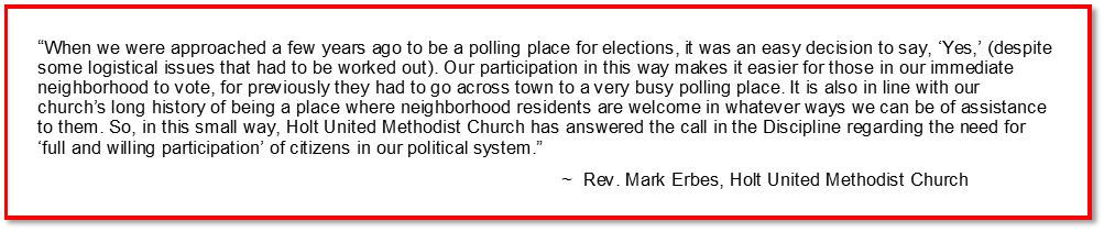 Churches facilitate voting