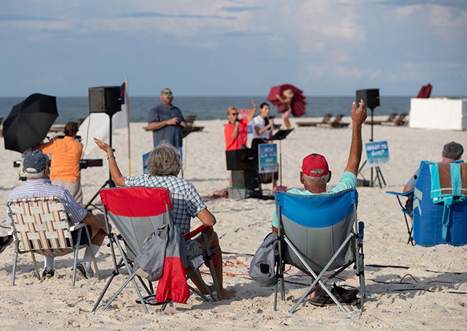 Worship on the beach in Alabama