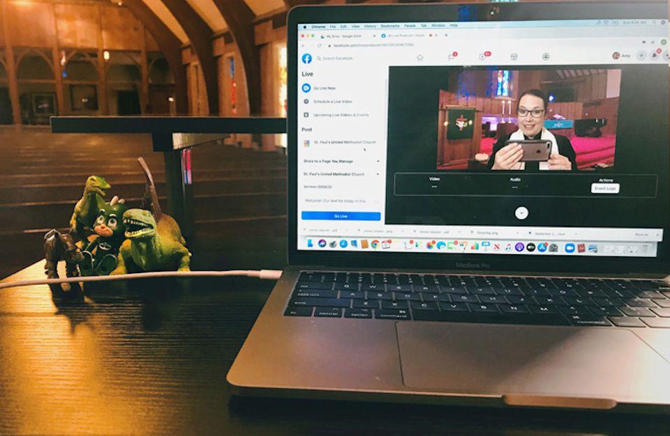 Dinosaurs assist virtual worship.