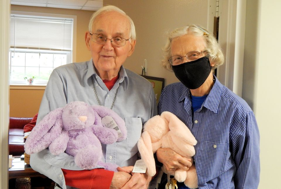 Two seniors adopt a bunny.