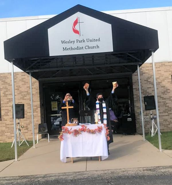Outdoor communion at the church