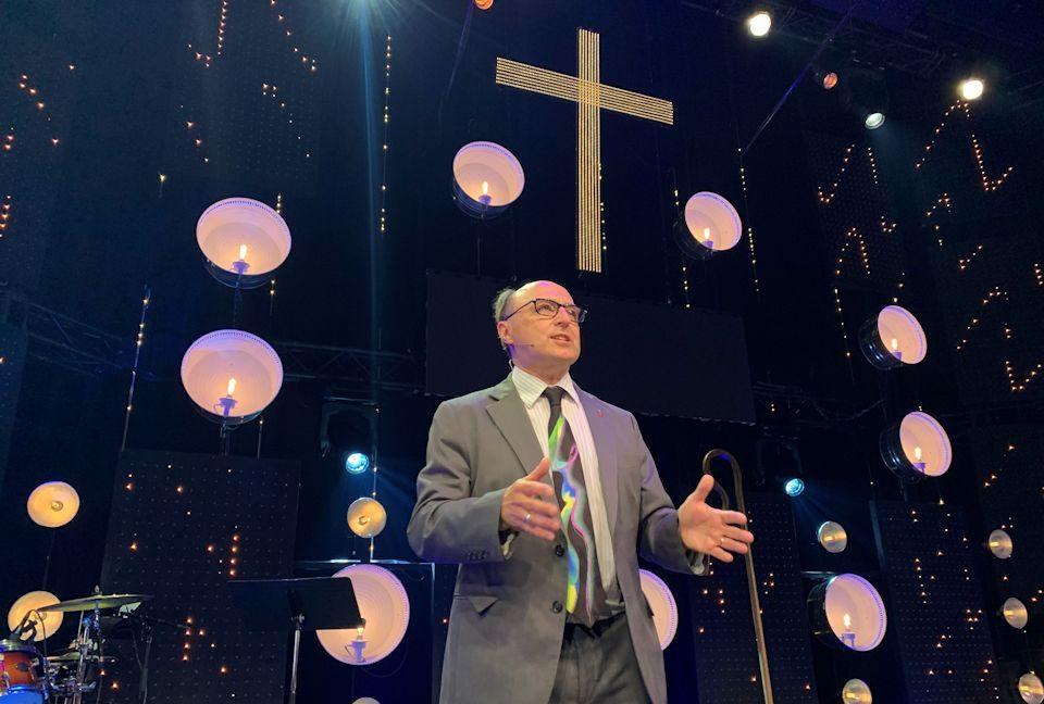 Bishop David Bard preaching about sowing