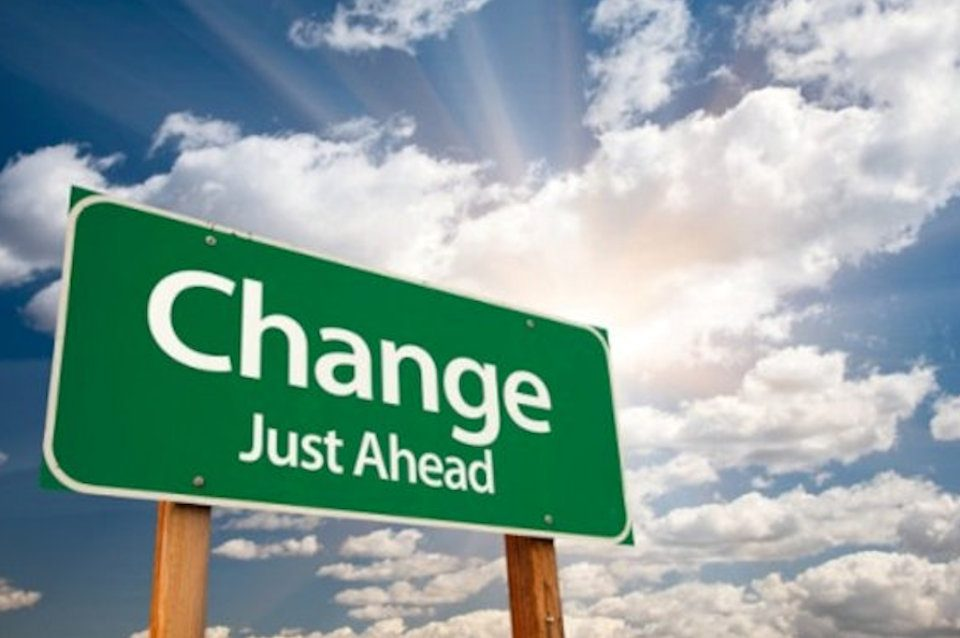 Roadsign saying Change Just Ahead