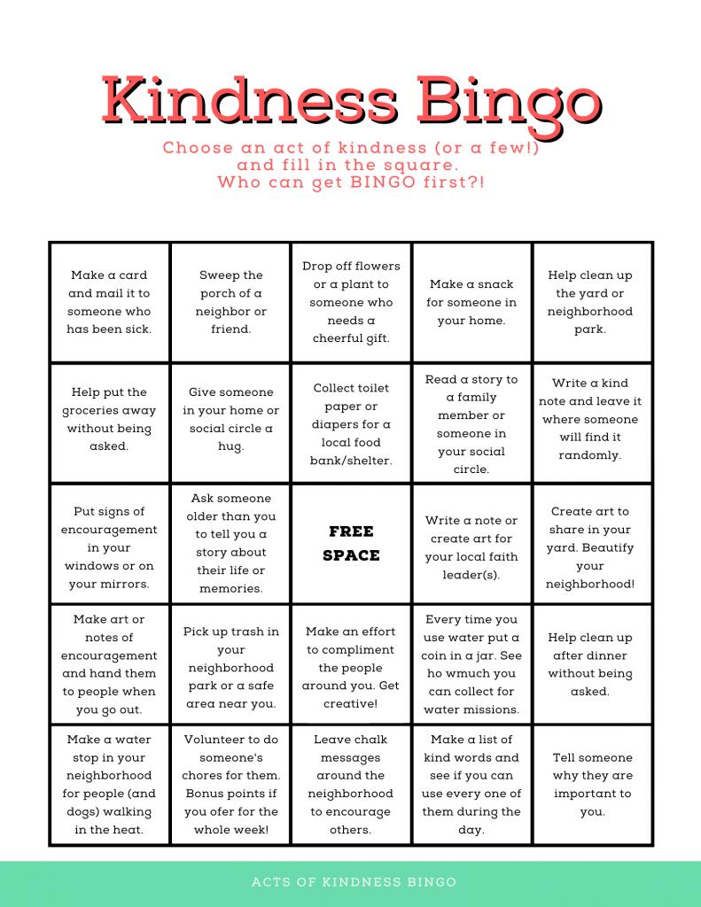 summer of kindness bingo sheet