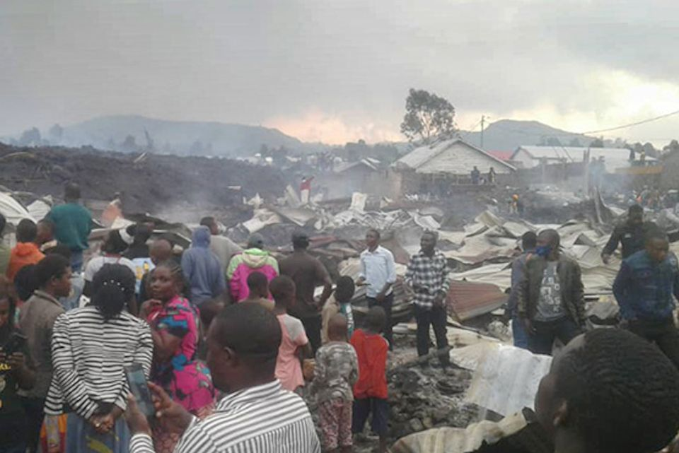 People displaced by volcano