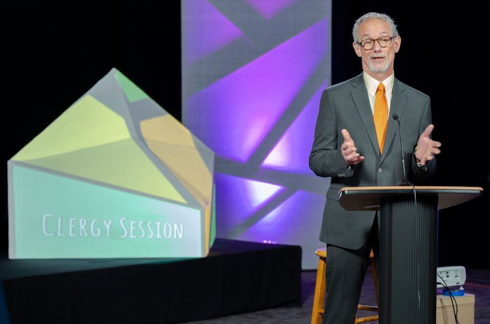Rev. Barry Petrucci addresses conference on Saturday afternoon