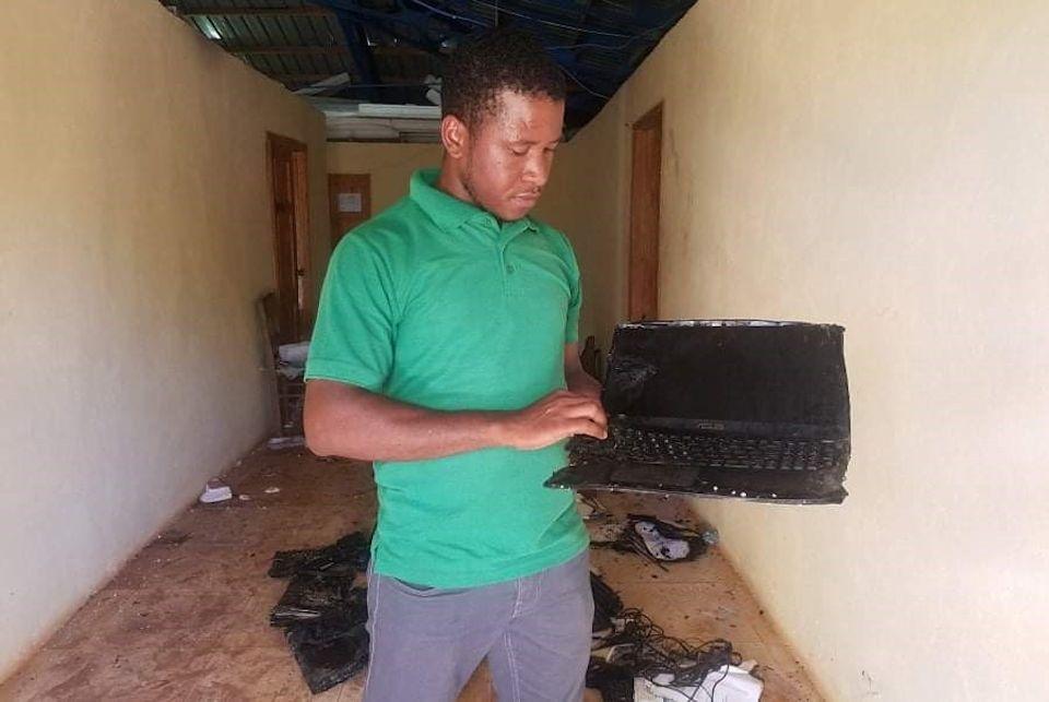 Computer lab in Mizak, Haiti destroyed by fire