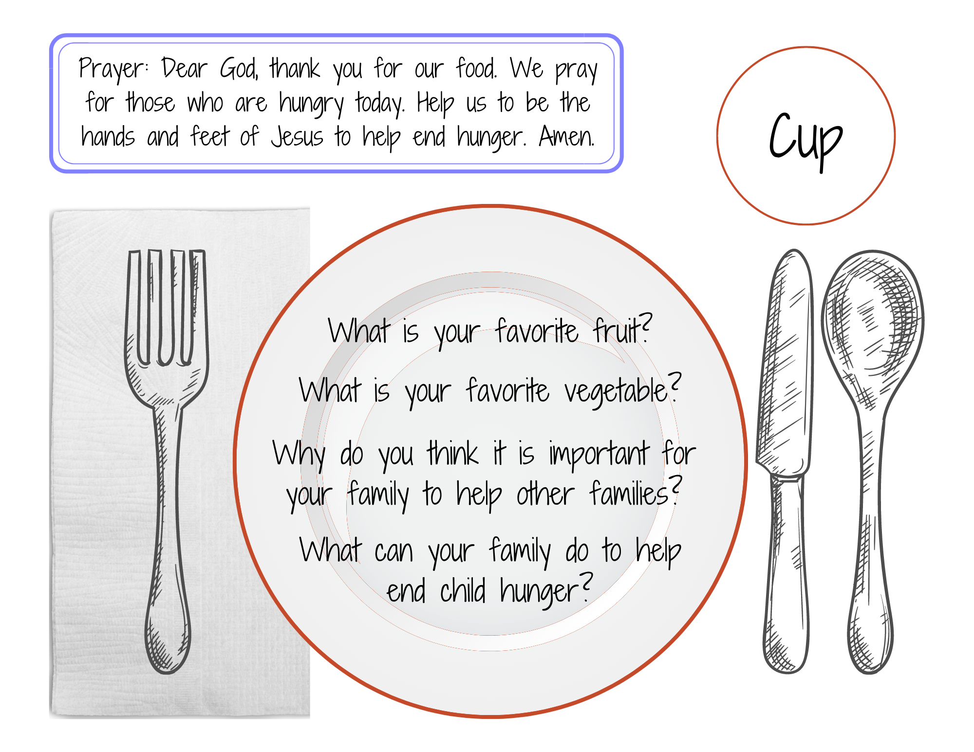 placemat with prayer and questions