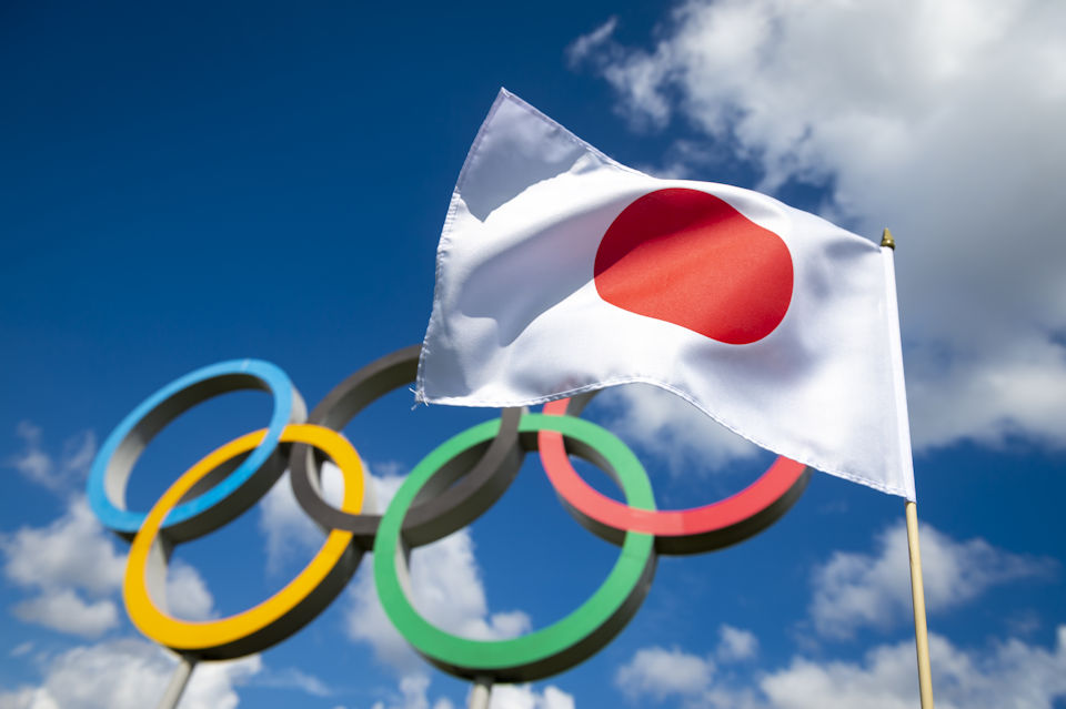Olympic symbol with Japanese flag